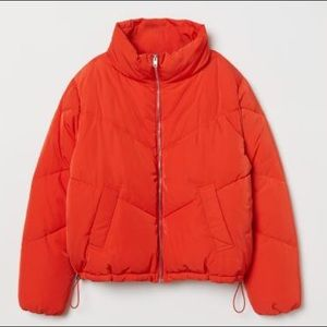Orange/Red Crop Puffer Jacket